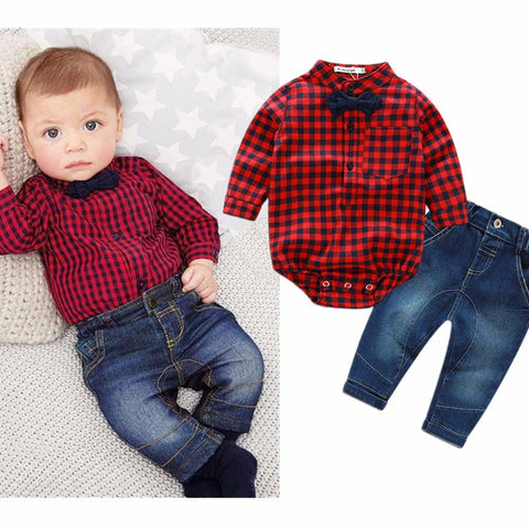 New red plaid shirts+jeans baby boys clothes baby clothing set