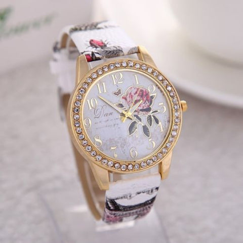 1 PC New Brand Casual Female Relogio Leather Rose Flower Watch Diamond Women Rhinestone Dress Quartz Wristwatches - Slim Wallet Company