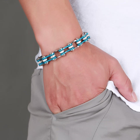 Cool Rhinestone Studded Stainless Steel Blue And Silver Bracelet
