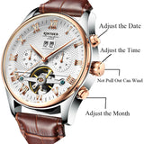 Rose Gold Leather Mechanical Wrist Watch