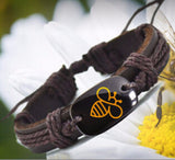 Bee Leather Bracelet - Slim Wallet Company
