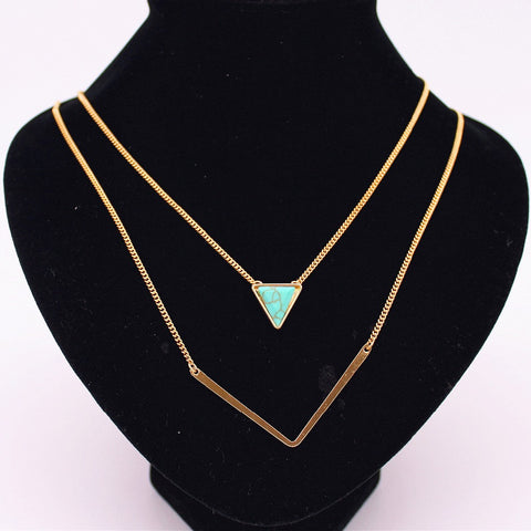 6 style Fashion Women Stone Necklaces triangle water drop Black White turquoise Gold Layered necklaces & pendants factory sales - Slim Wallet Company