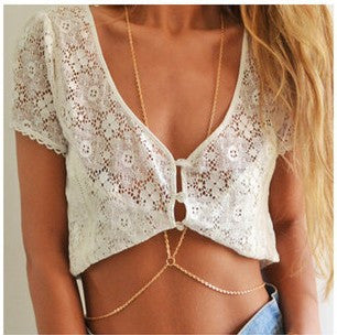 Fashion body chain necklace gold plated body chain jewelry for women girls wholesale summer jewelry body jewelry - Slim Wallet Company