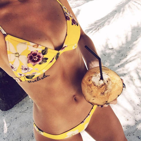 Golden Beach Flower Bikini Set - Slim Wallet Company