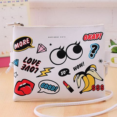 New Fashion Cartoon Printed Women Graffiti Handbag Mini Crossbody Shoulder Bag Ladies Casual Purses Clutches Girls Handbag G0739 - Slim Wallet Company