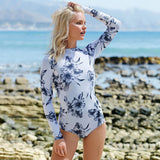 Floral Printed One-Piece Swimsuit - Slim Wallet Company