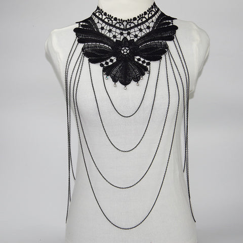 Black Lace Body Chain Women Statement Necklaces 2016  Body Jewelry Chokers Necklace Collar  Bijoux Femme Colier body jewelry - Slim Wallet Company