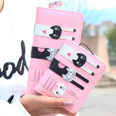 New Envelope Wallet Cat Cartoon purse Long Short Creative Female Card Holder Lady clutch coin purse - Slim Wallet Company