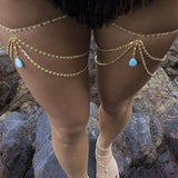 Vintage Boho Joias Gold Turquoise Leg Chains Multilayer Sexy Thigh Body Chain Necklaces body jewelry Beach Jewelry