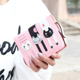 Hot Sell !2016 New Fashion Envelope Women Wallet Cat Cartoon purse Long Short Creative Female Card Holder Lady clutch coin purse - Slim Wallet Company