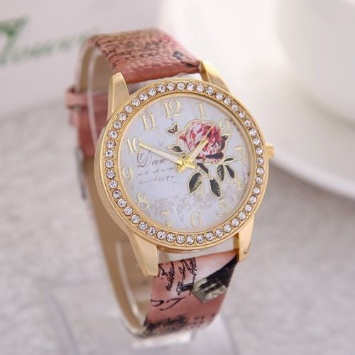 Beautiful Floral Studded Leather Watch