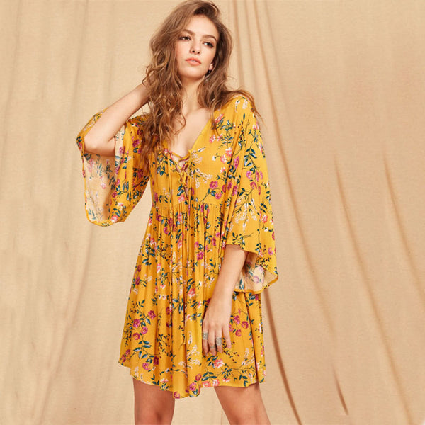 Lace Up Plunge Neck Golden Flare Dress - Slim Wallet Company