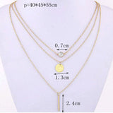 Fashion suspension geometry crystal layer 3 gold sliver color to choose chain necklace women jewelry free shipping - Slim Wallet Company
