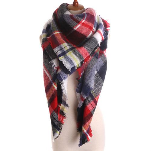 Soft Cashmere Blanket Warm in Winter Fashion Plaid Square Shawls 20 colors Size 140cm X 140cm - Slim Wallet Company