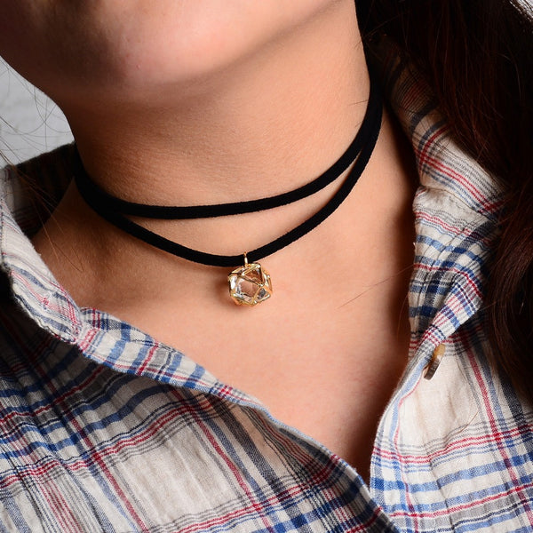 Black Double Layer Faux Suede Leather Choker Necklace Dimond Shape Stone Pendant 1L3001 - Slim Wallet Company