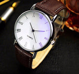 Hot Selling Good Deal Men Roman Numerals Blu-Ray Faux Leather Band Quartz Analog Business Watch 6JJZ - Slim Wallet Company