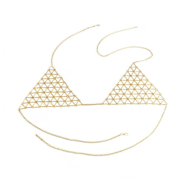 Boho Bikini Top Harness Bra Chain Geometric Triangle Body Chain Jewelry Necklace for Women body jewelry - Slim Wallet Company