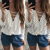 Ruffled Lace Up Summer Blouse
