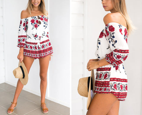 Off Shoulder Floral Print Romper - Slim Wallet Company