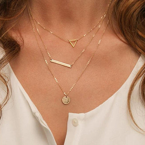 Vintage Hollow Out Triangle 3 Layer Chain Layer Necklace Coin Colar Necklaces Fashion Jewelry for women YN038