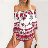 Summer Overall Floral Shorts Romper Boho
