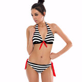 Striped Bow Tie Brazilian Swim Suit