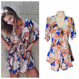 Beach Wear Women Jumpsuit Deep V neck Print Overalls Playsuit Rompers Women Jumpsuit Shorts - Slim Wallet Company