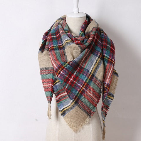 Soft Cashmere Women's Scarf Triangle Fashion Plaid Blanket Pashmina Shawl Warm in Winter Warp Scarves