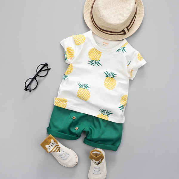Aloha Pineapple Shorts And Tee - Slim Wallet Company