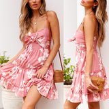 Ruffled Girl Spaghetti Strap Boho Summer  Beach Dress - Slim Wallet Company