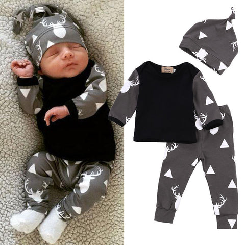 Cute Newborn Baby Girl Boy Clothes Deer Tops T-shirt Long Sleeve + Pants Casual Hat Cap 3pcs Outfits Set
