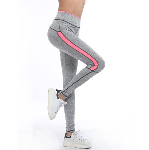 Pink and Grey Highlight Workout Leggings - Slim Wallet Company