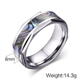 Iridescent Shell Inlayed Tungsten Carbide Ring - Slim Wallet Company