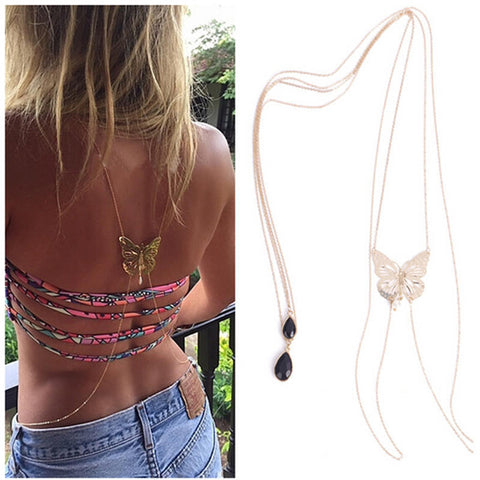Hot Sexy Bikini Long Necklace Body Chain Bare Back Gold Butterfly Pendant Body Jewelry NE147 - Slim Wallet Company