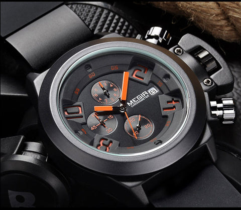 Lava Engraved Silicone Black Watch