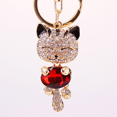 Crystal Rhinestone Metal Cat Keychain Novelty Souvenir Gifts Couple Key Chain Key Ring Hangbag Charms Pendant Chaveiros Carro - Slim Wallet Company