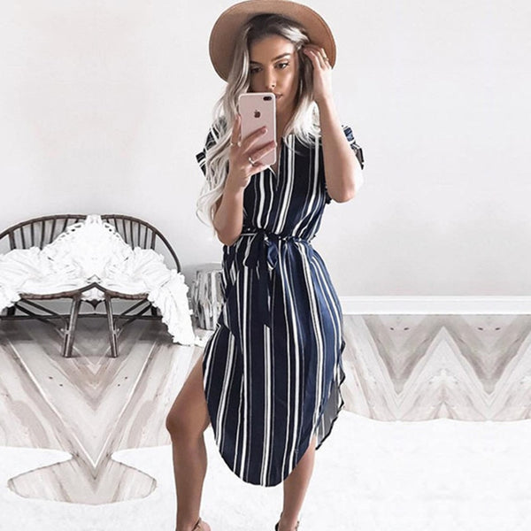 Blue Striped Wonder Dress - Slim Wallet Company