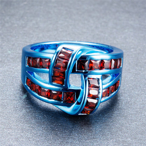 Blue Gold Red CZ Crystal Ring