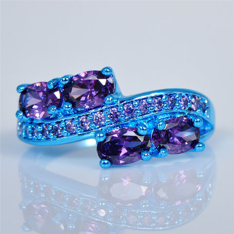 Blue Gold Filled Purple Nectar CZ Ring - Slim Wallet Company