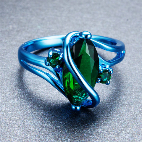 Ivy Blue Gold with Green Oval Zircon Ring