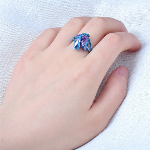 Mystic Blue Gold Ring with Purple Zircon Stone
