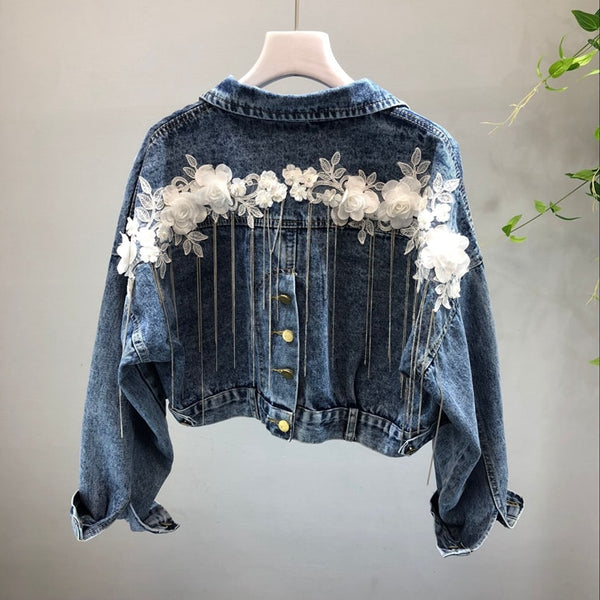 Floral Lines Denim Jacket - Slim Wallet Company