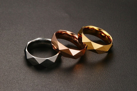 Rhombic Cut Tungsten Carbide Promise Wedding Bands Ring  Gold Plated