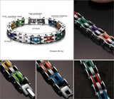 Mix Color Silicone Biker Chain Bracelet Stainless Steel Hand Chain - Slim Wallet Company