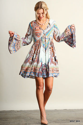 Bell Sleeves Bohemian Flare Dress - Slim Wallet Company