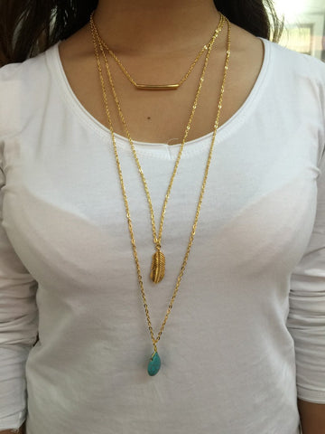 Boho Layered Turquoise Necklace - Slim Wallet Company