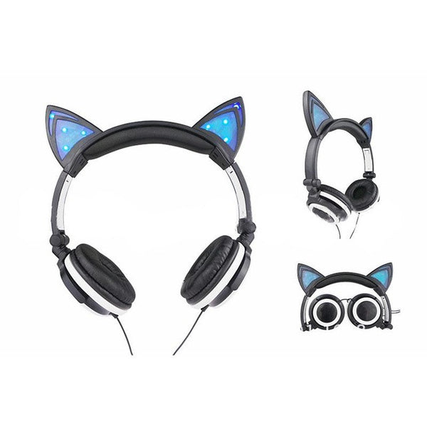 Cat Ears Headset  Portable Flashing Headphones For Phone Computer PC - Ships FREE