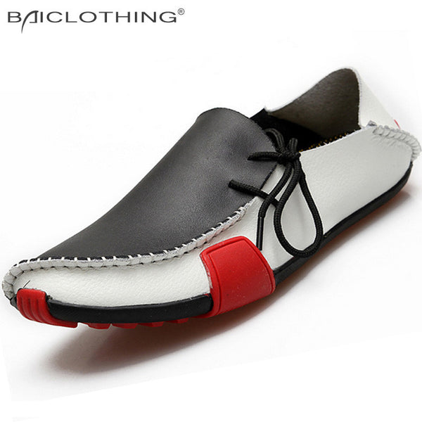 NEW - Genuine Leather Men's Slip on Boat Loafer Mocissons