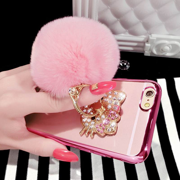 Kitty With Fur Ball Cover Case For iPhone & 360 degree Rotate Ring 6 6S 6Plus 6S Plus