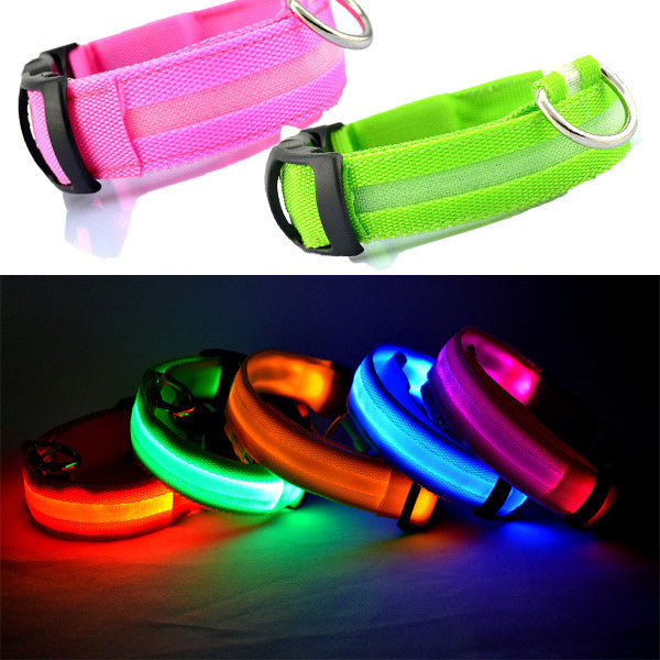 Nylon LED Lighted Pet Safety Collar for Cats and small Dogs - FREE Shipping